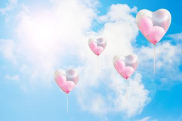 Heart shaped balloon on blue sky