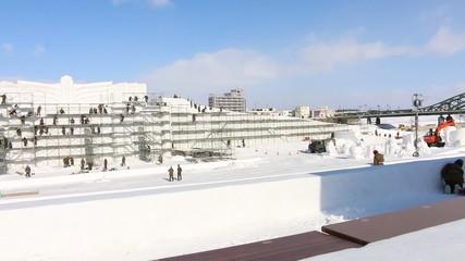 第56回旭川冬まつり大雪像制作風景