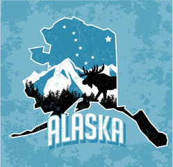 Vector graphic T-shirt design of Alaska in retro style