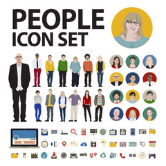People Icon Set Social Media Vector Concept