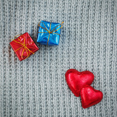 gifts, red hearts, Valentine