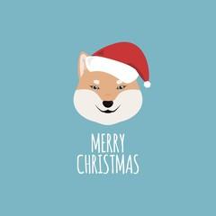 Merry Christmas Card, Shiba Inu