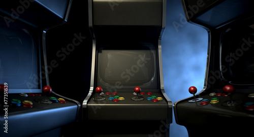 Leinwandbild Motiv Arcade Machine Group Huddle