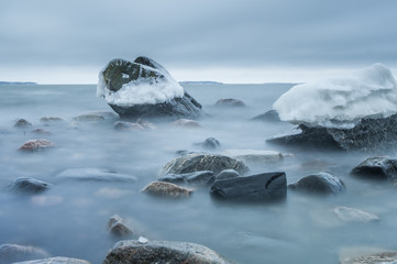Ice,Rocks and water