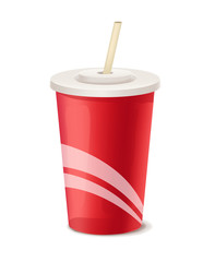 Red paper cup vector template