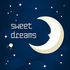 Cartoon sleeping moon