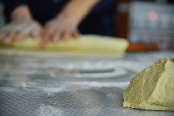 Home made dough for bread traditional way