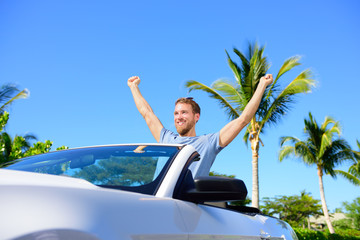 Road trip travel - free man driving car in freedom