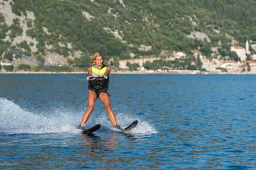 water skiing on a sea