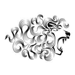 Magical roaring lion tattoo design
