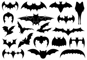 Illustration of different bats isolated on white