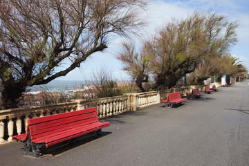 Promenade with Benches along Atlantic Ocean in Porto