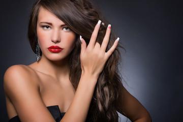 Portrait of beautiful sensual woman . Perfect makeup.