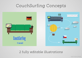 Set of Couch surfing concept. Travel infographic.