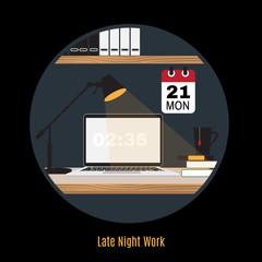 Illustration of modern office workspace. Freelance night.