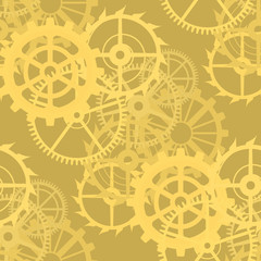 Gears on a golden background, seamless pattern. Illustration
