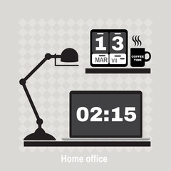 Illustration of modern office workspace. Flat minimalistic style