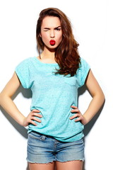 stylish beautiful girl model in casual cloth with red lips