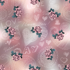 Doodles Valentines day pattern on blur background and roses.
