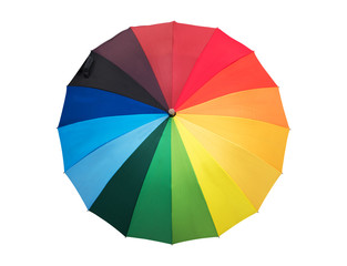 Rainbow colored umbrella opened, isolated on white background
