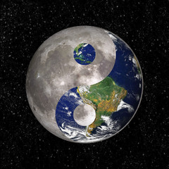Yin Yang and tao symbol with earth and moon