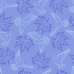Seamless pattern with pigeons and leaves on a blue background