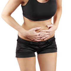 Woman with both palm around waistline to show pain on belly area