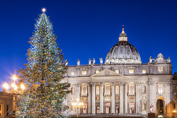 St. Peter's Basilica at Christmas in Rome, Italy