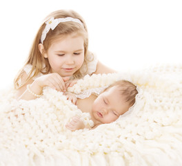 Baby Girl and Newborn Boy, Sister Little Child and Sleeping