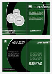 Bi-fold brochure template design with green color
