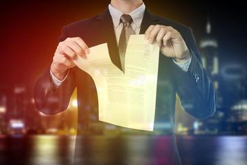 double exposure of businessman destroy document