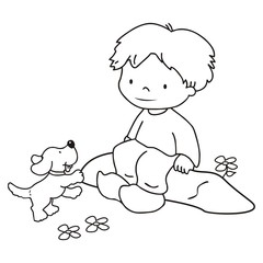 boy and dog,coloring