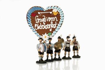Bayerische Figuren Musik und feiert Oktoberfest