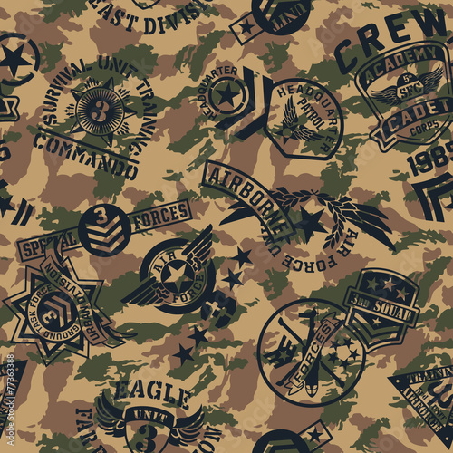 Military style patches  seamless vector pattern - 77363388
