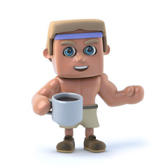3d Bodybuilder drinks a cup of coffee