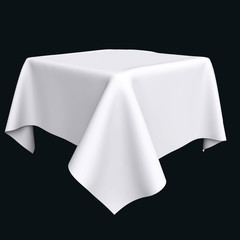 White cloth on the object or table.