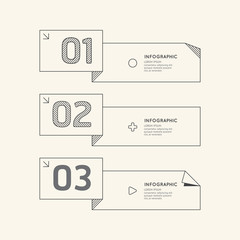 Flat linear Infographic Number Banner Outline Concept.Vector Ill