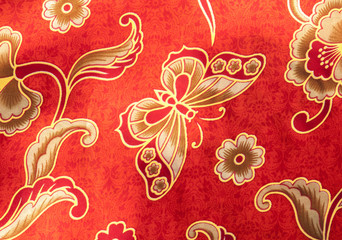 Close-up Butterfly pattern on red batik