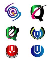 Set Of Alphabet Symbols And Elements Of Letter Q