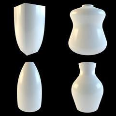 White vases isolated on a black background