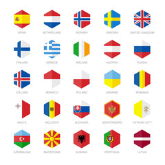 Europe Flag Icons. Hexagon Flat Design.