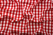 Wrinkled tablecloth red tartan in cage texture wallpaper. - 77365959