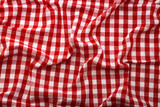 Wrinkled tablecloth red tartan in cage texture wallpaper.