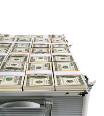 The metal case with dollars