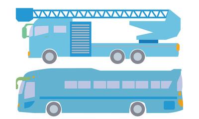 はしご車とバスのイラスト