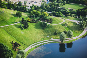 Aerial view of Olympiapark and Munich from Olympiaturm, Germany