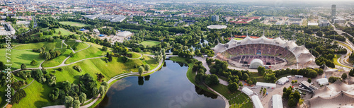 Panoramic view at Stadium of the Olympiapark in Munich,  Germany - 77366199