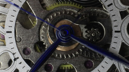 Macro clip of watch gears and hands moving