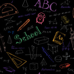 Seamless pattern back to school. Black background.