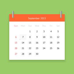 Calendar page for September 2015